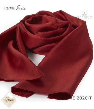 Foulard Femme 100% Soie, Bordeaux, Doux au toucher, 20 x 160 cm