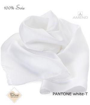Foulard Femme 100% Soie, Blanc, Doux au toucher, 20 x 160 cm