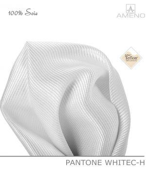 Pochette de costume 100% Soie, Blanche, Doux au toucher, Carré 25 x 25 cm