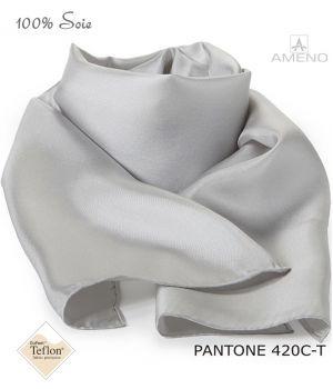 Foulard Femme 100% Soie, Gris clair, Doux au toucher, 20 x 160 cm