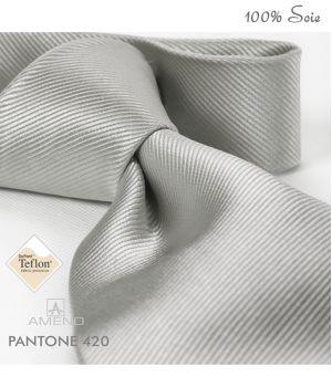 Cravate 100% Soie, Gris clair, Doux au toucher, Traité anti taches, Largeur 7 cm