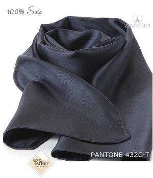 Foulard Femme 100% Soie, Gris foncé, Doux au toucher, 20 x 160 cm