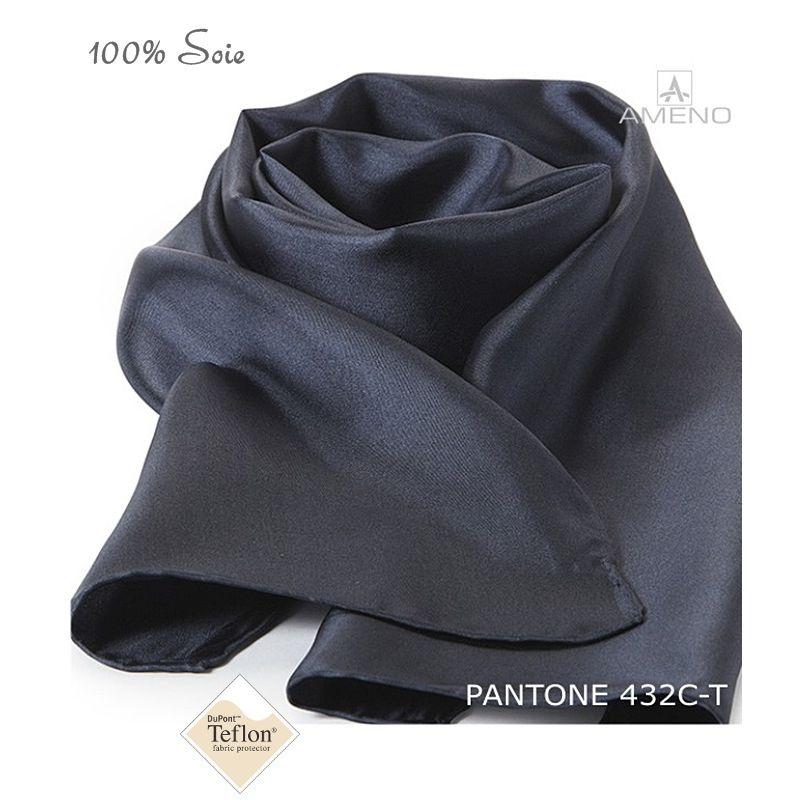862fb041faab2 Foulard Femme 100% Soie, Gris foncé, Doux au toucher, 20 x 160 cm