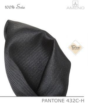 Pochette de costume 100% Soie, Gris foncé, Doux au toucher, Carré 25 x 25 cm