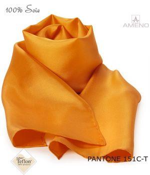 Foulard Femme 100% Soie, Orange, Doux au toucher, 20 x 160 cm