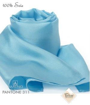 Foulard Femme 100% Soie, Bleu azur, Doux au toucher, 20 x 160 cm
