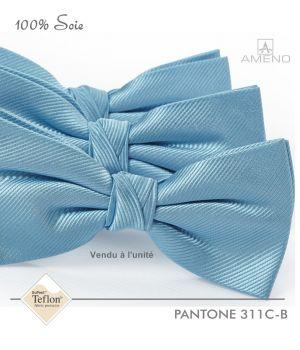 Noeud papillon, 100% Soie, Bleu azur, Doux au toucher, Déjà noué