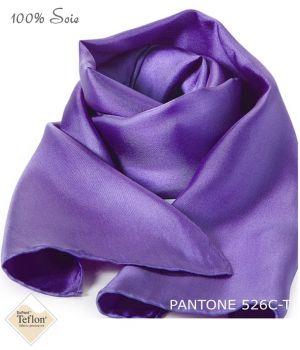 Foulard Femme 100% Soie, Violet, Doux au toucher, 20 x 160 cm