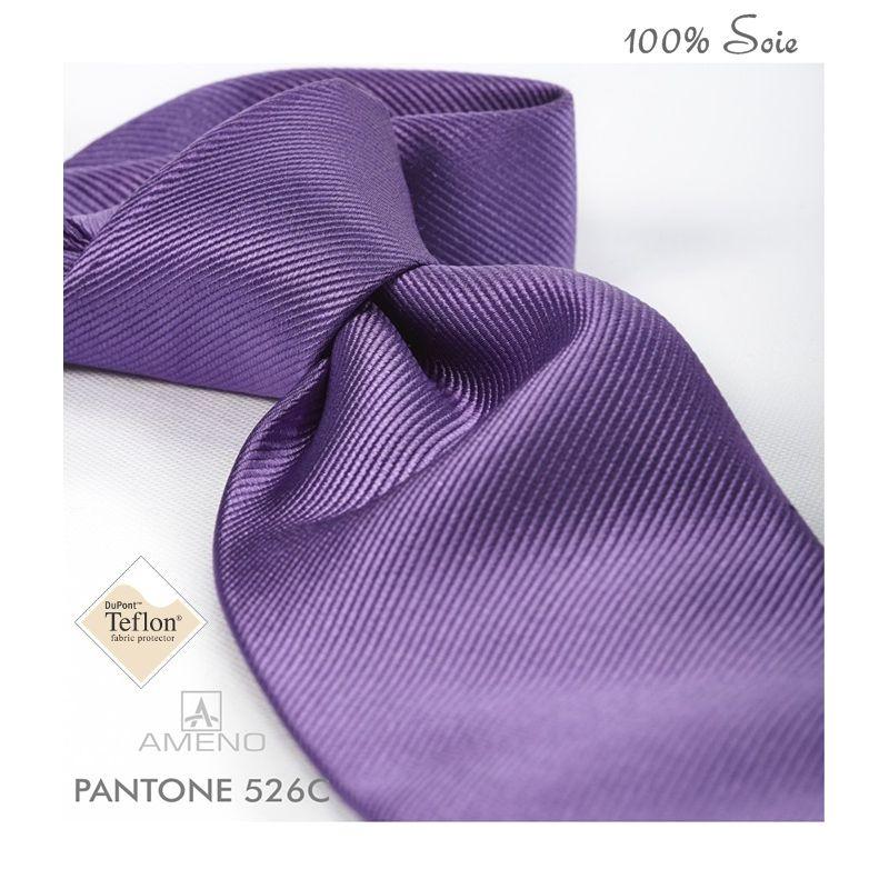 Cravate 100% Soie, Violet, Doux au toucher, Traité anti taches, Largeur 7 cm c39f048348f