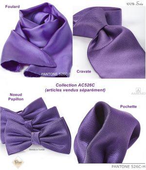 Cravate 100% Soie, Violet, Doux au toucher, Traité anti taches, Largeur 7 cm