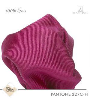Pochette de costume 100% Soie, Fuschia, Doux au toucher, Carré 25 x 25 cm