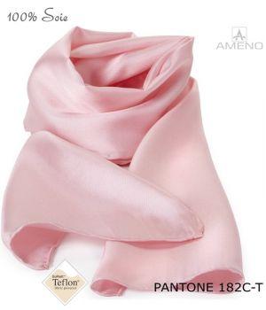 Foulard Femme 100% Soie, Rose, Doux au toucher, 20 x 160 cm