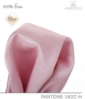 Pochette de costume 100% Soie, Rose, Doux au toucher, Carré 25 x 25 cm
