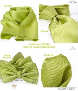 Foulard Femme 100% Soie, Vert chartreuse, Doux au toucher, 20 x 160 cm