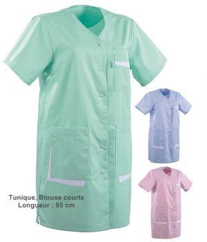 Tunique médicale femme, Coupe droite, Col V, longueur 3-4, 2 poches côté