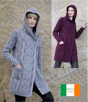 Manteau femme 3/4, 100% Laine Mérinos extra douce, Capuche et Poches