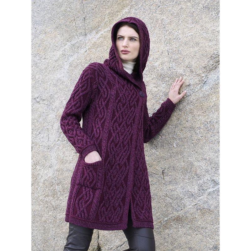 manteau femme 3 4 100 laine m rinos extra douce capuche et poches. Black Bedroom Furniture Sets. Home Design Ideas