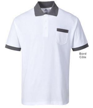 Polo Blanc et gris, Poche poitrine, Col et bout des manches tricot