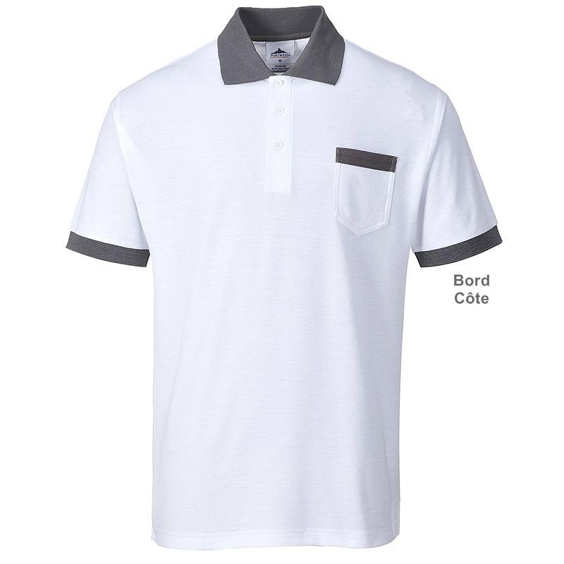 Polo Blanc et gris, Poche poitrine, Col et bout des manches tricot 19bb876d505a