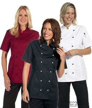 Veste de cuisine femme manches courtes cintrée, poche sur la manche