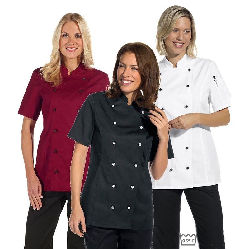 d0b41707c865 Veste de cuisine femme manches courtes cintrée