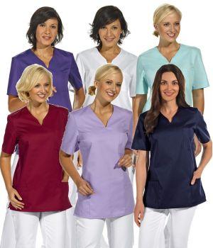 Blouse médicale femme manches courtes, Col V arrondi, poches latérales