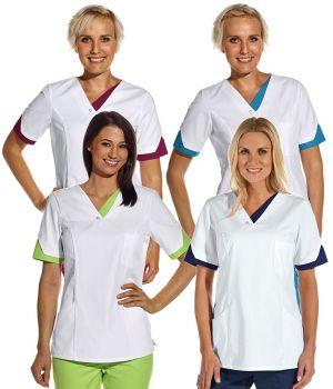 Tunique médicale femme, Passepoil de couleur aux manches et au col