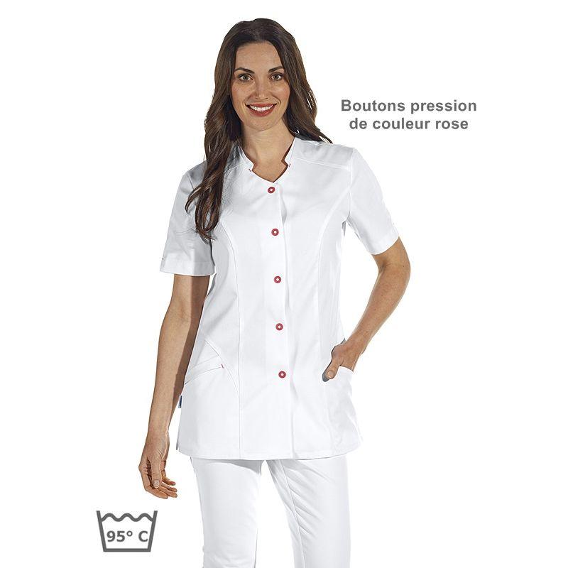blouse m dicale courte femme blanche avec accents de couleur rose fonc. Black Bedroom Furniture Sets. Home Design Ideas