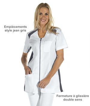 Blouse médicale courte femme, Empiècements de jean gris, Fermeture à glissière