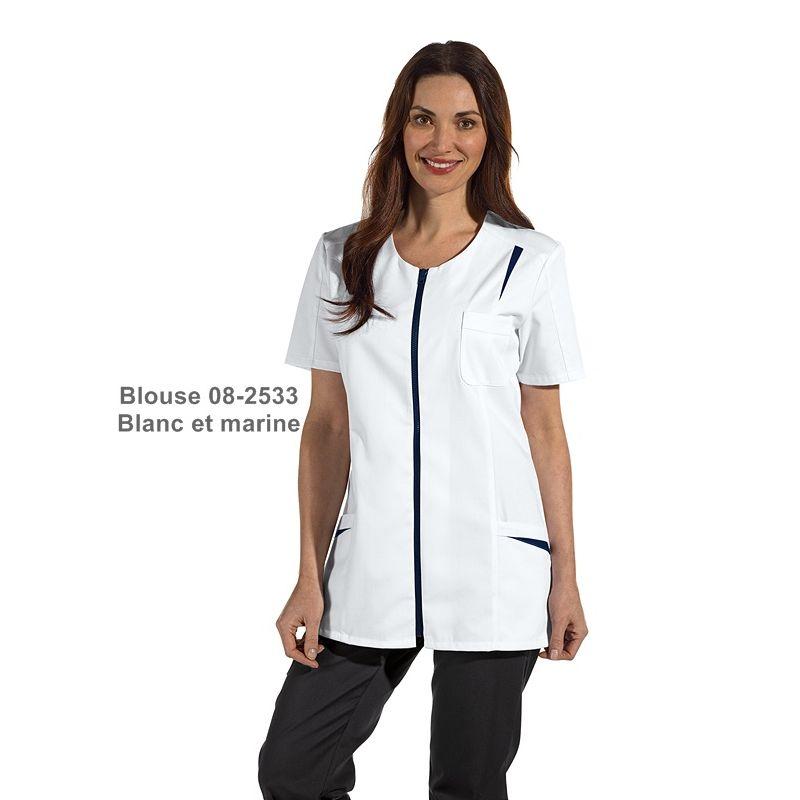 Blouse Medicale Courte Pour Femme Fermeture A Glissiere Couleur