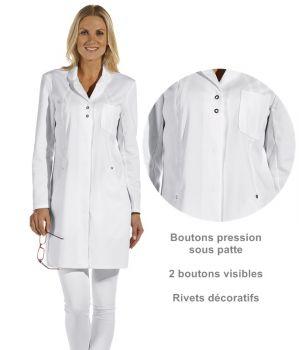 Blouse blanche médicale femme, Boutons pression sous patte, 2 boutons visibles
