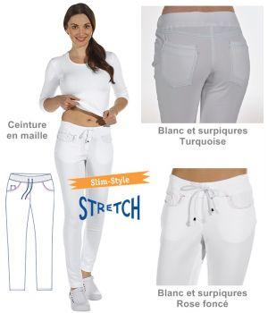 Pantalon blanc femme, Coupe slim, Surpiqures de couleur, cordon de serrage