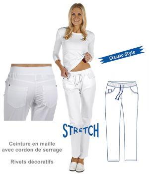 Pantalon blanc femme, Coton et Stretch, Ceinture maille, Cordon de serrage