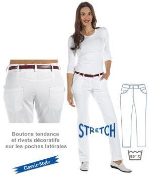 Pantalon blanc femme, Coupe 5 poches, Boutons tendance et rivets décoratifs