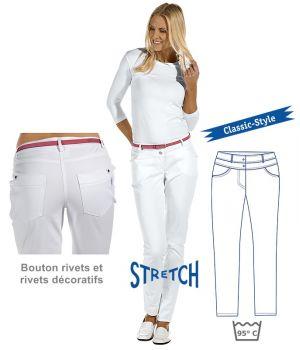 Pantalon blanc femme, Coton et Stretch, Boutons rivets et rivets décoratifs