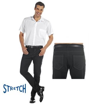 Pantalon homme, Jean Noir 5 poches, Coupe mode, Jambes étroites, Stretch