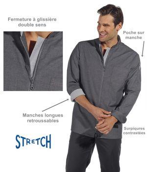 Veste de cuisine, Style moderne, Tissu jean gris, Surpiqures contrastées
