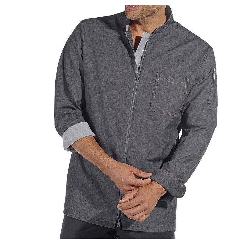 Veste de cuisine style moderne tissu jean gris for Veste de cuisine homme brode