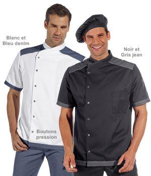 Veste de cuisine, Manches courtes, Boutons pression, Style tendance