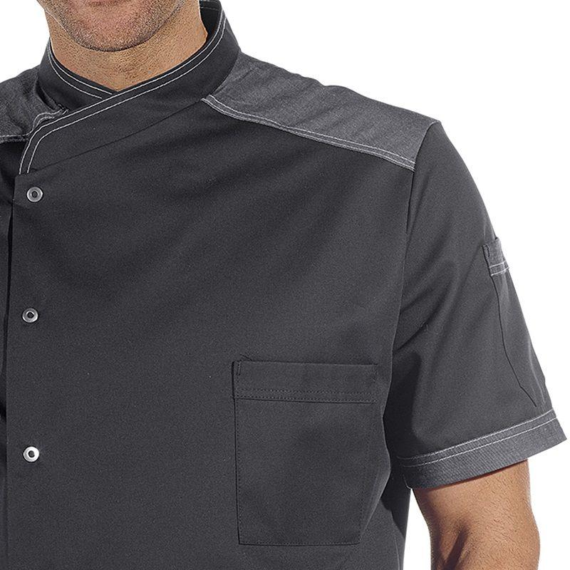 Veste de cuisine manches courtes boutons pression style for Veste de cuisine manche courte