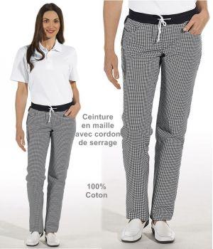 Pantalon de cuisine femme, Ceinture en maille, Noir et Blanc Pepita
