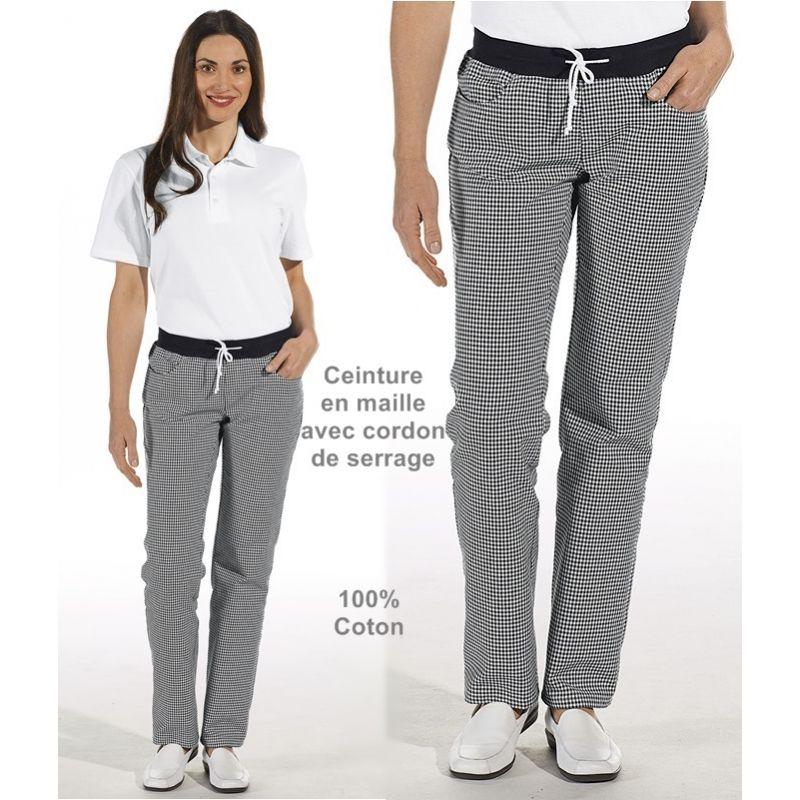 Pantalon de cuisine femme ceinture en maille noir et for Pantalon de cuisine homme