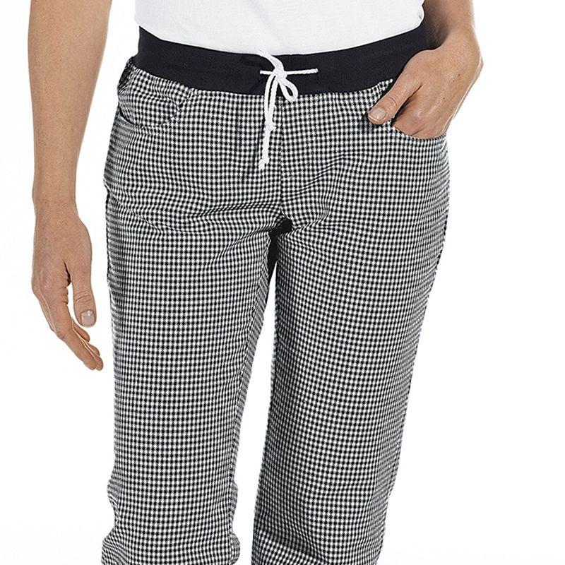 Pantalon de cuisine femme ceinture en maille noir et for Pantalon homme a carreaux
