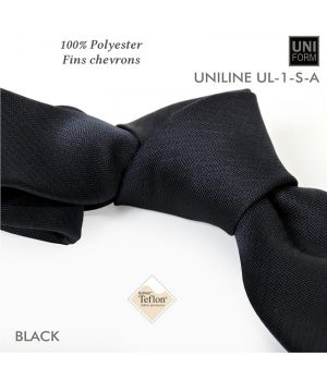 Cravate Noire, 100% Polyester, 8,5 x 155 cm, Protection anti-tache