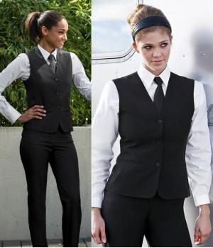 Gilet de service dame, lavable, Dos en tissu, poches passepoilées