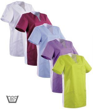 Tunique médicale femme, Col en V, Poche poitrine, 2 poches côté