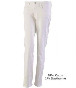 Pantalon Jean Femme, Blanc, Coton et élasthanne, Rivets, poches revolver
