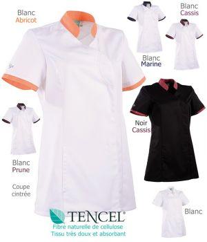 Tunique médicale Femme, Coupe cintrée, Col montant, Fermeture asymétrique
