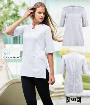 Blouse courte pour femme, Blanc, Coton et Stretch, 2 poches côté, Plis au dos