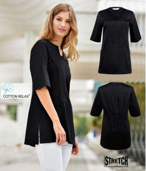Blouse courte pour femme, Noir, Coton et Stretch, 2 poches côté, Plis au dos